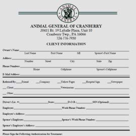 Thumbnail image of new client form Animal General all pet animal hospital